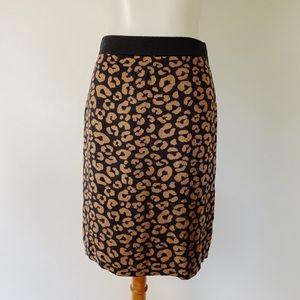 CHARTER CLUB Leopard Print Knit Skirt Cotton